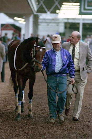 Tony Leonard captured this shot of 1987 Kentucky Derby winner Alysheba with his trainer, Jack Van Berg. Alysheba was bred by the Madden family at their Hamburg Farm in Lexington, Kentucky - he was the 6th Derby winner foaled there.