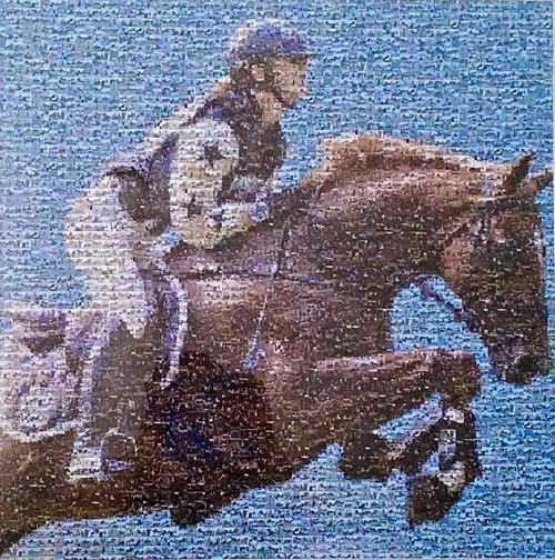 The memorial mosiac for Olivia Inglis created using images from riders around the world.
