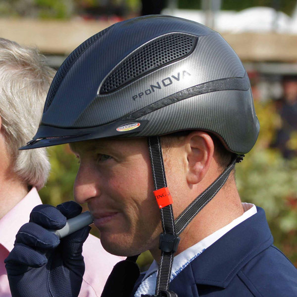 Michael Jung prepares for the celebratory kisses after winning the Badminton Horse Trials.