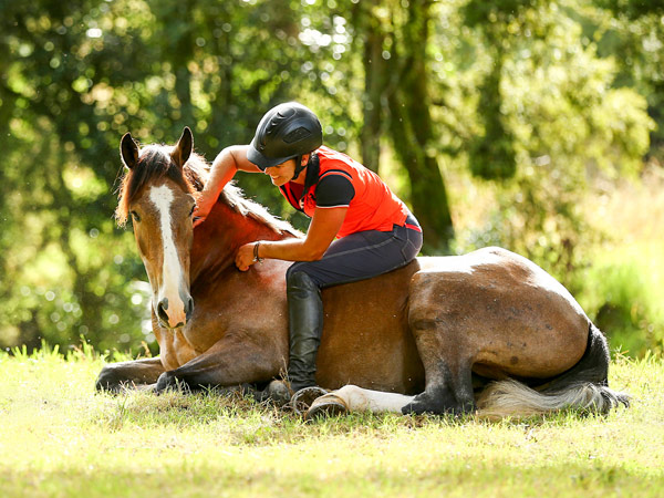 Vicki Wilson and her Kaimanawa stallion, Argo KH, just a few months out of the wild.