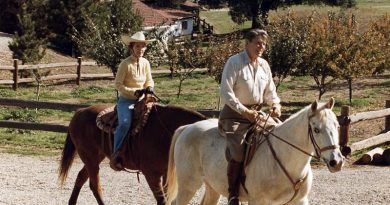 Ronald Regan is pictured riding  his Anglo-Arab stallion El Alamein at Rancho del Cielo, the 688-acre ranch he bought in 1974. El Alamein was a gift from Mexican President José López Portillo in 1981. Mrs. Reagan's horse was named No Strings.