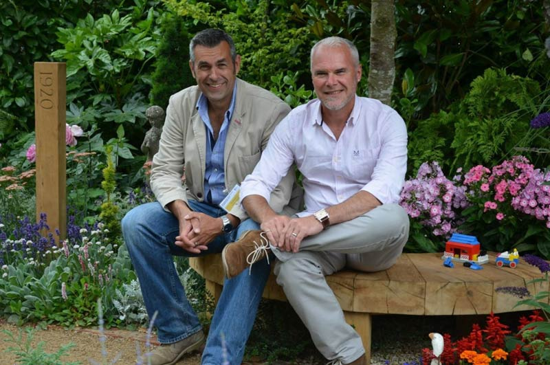 Jonathan Smith, left, and Adam Woolcott are designing World Horse Welfare's entry at the Chelsea Flower Show.