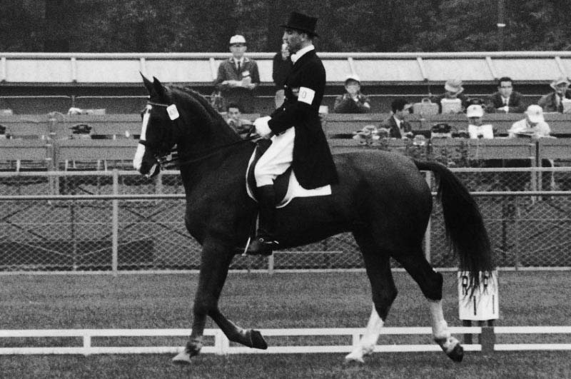 Dr Reiner Klimke and Dux, team gold medalists at the 1964 Olympic Games.