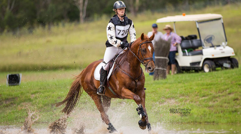 Olivia Inglis and Coriolanus, the horse she was riding at the NSW Eventing Championship. Coriolanus later died of his injuries.