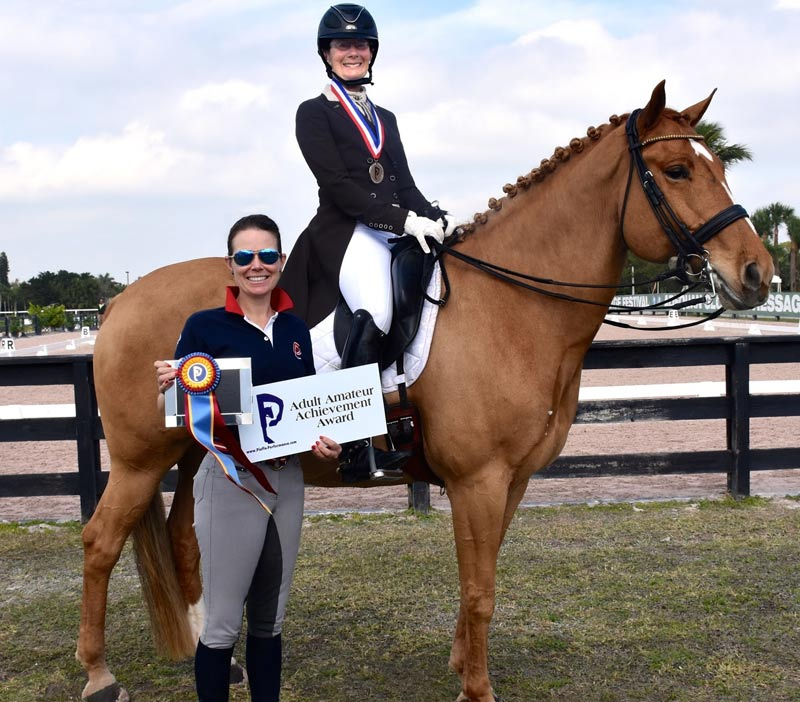 Candace Platz won the Piaffe Performance Adult Amateur Achievement Award at the Adequan Global Dressage Festival.