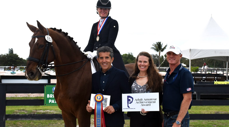 Piaffe Performance Adult Amateur Achievement Award winner Ann Romney, riding Dalhems Diomedes, with Dr Cesar Parra and Katie Riley of Piaffe Performance, and Romney'trainer Jan Ebeling at the Adequan Global Dressage Festival.