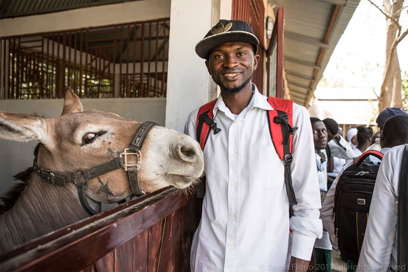 An agriculture student makes a new friend at the first training course at the Makasutu Centre.