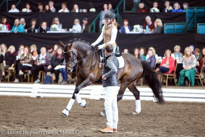 Sarah Lockman and her five-year-old Dehavilland work with Carl Hester at the West Coast Dressage Convention.