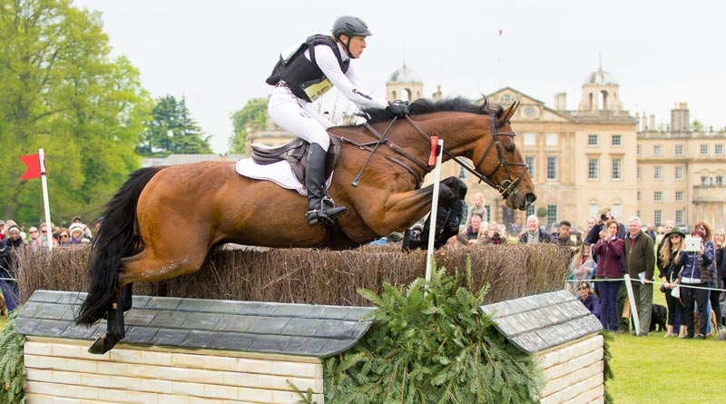 Ingrid Klimke and Horseware Hale Bob have taken the lead on a very influential cross country day at Badminton. © FEI/Jon Stroud