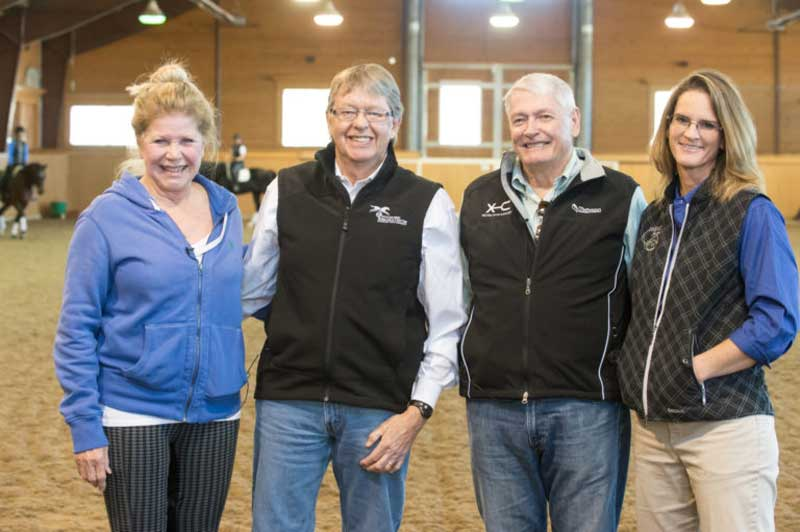 Dr Mindy Story, far right, a veterinarian with CSU Equine Sports Medicine and Rehabilitation, helped connect McIlwraith with major donors John and Leslie Malone. Photo: William A. Cotton/Colorado State University