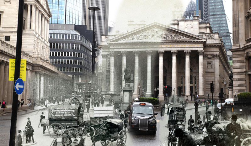 The Bank of London in 1890 and 2017.
