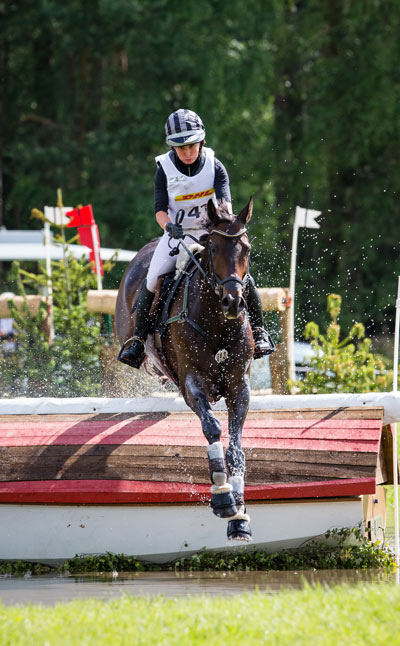 Bettina Hoy and Designer 10 maintained their lead after jumping clear inside the time cross country at Luhmühlen CCI 4*.
