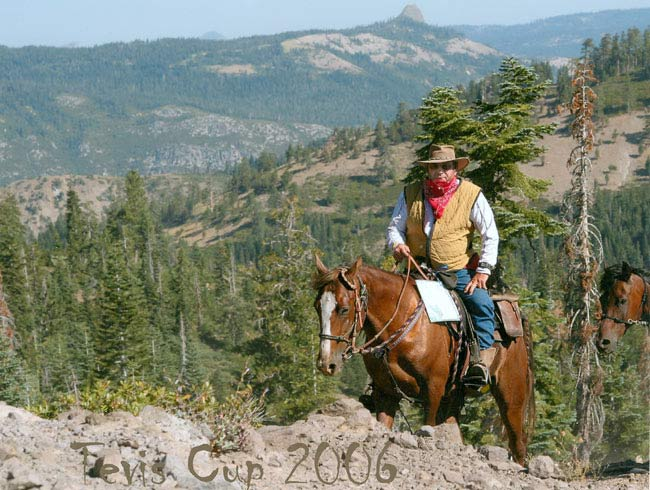Bill Hinkebein at the 2006 Tevis Cup with Missouri Fox Trotter Prime Time Sensation, a three-time National Champion.