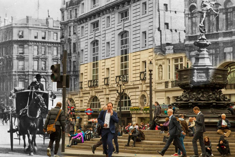 Piccadilly Circus, London, 1907 and 2017.