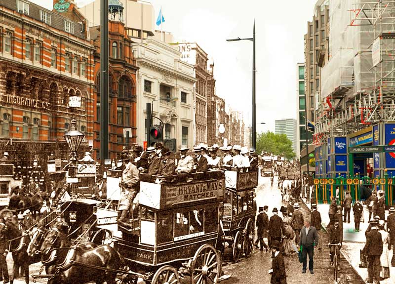Tottenham Court Road, London, in Victorian times and 2017.