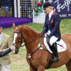 Toytown in his official retirement ceremony at Gatcombe in 2011, with Zara Tindall in the saddle, and her parents, Mark Phillips and Princess Anne. © Al Crook