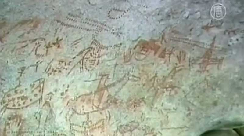 Recently discovered rock art in the Xiangshan Mountains. Photo: NDTV/YouTube