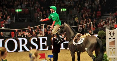 Frankie Dettori doing his famous flying dismount at Olympia last year.