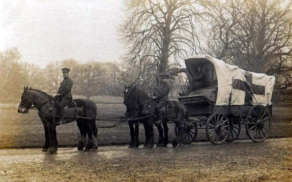A medical supply wagon during WWI.