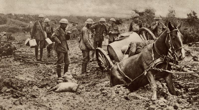 A British war horse stuck in the mud.