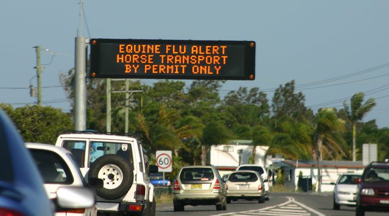 A road advisory during the 2007 equine influenza outbreak in Australia. Photo: File