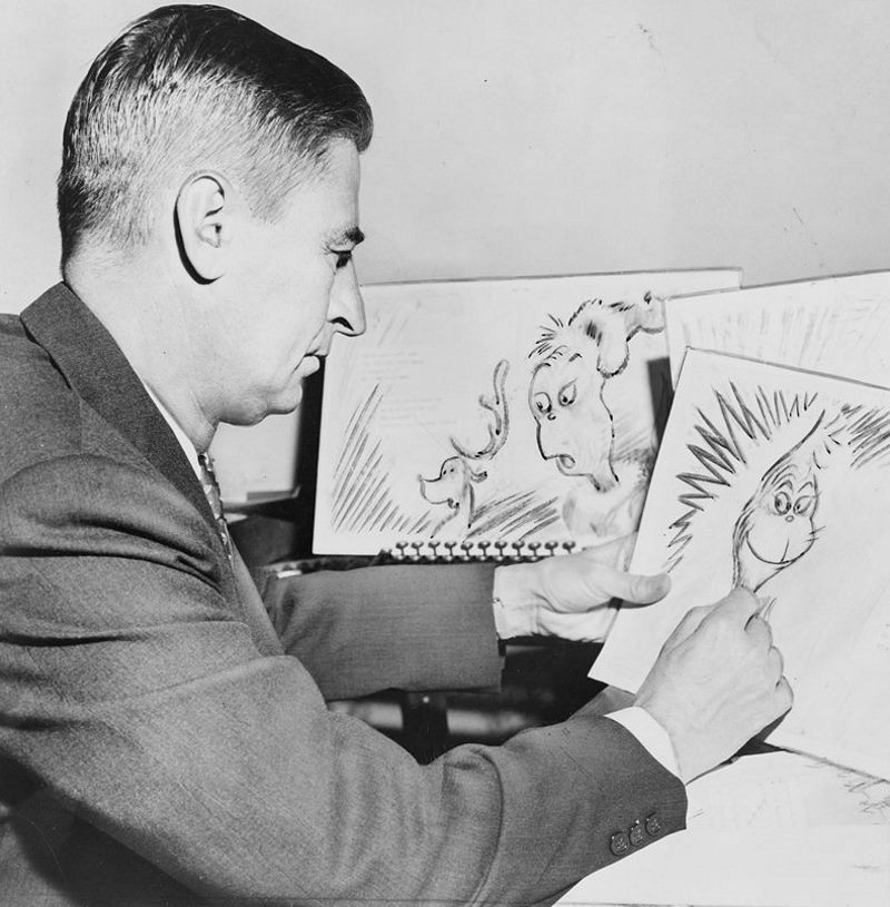 Ted Geisel works on a drawing of the Grinch for How the Grinch Stole Christmas! in 1957. Photo: Al Ravenna, World Telegram staff photographer (Public domain)