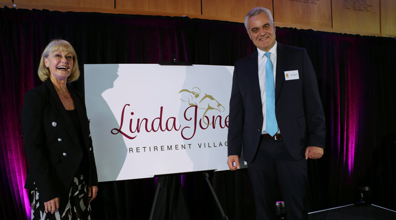 Linda Jones with Ryman Healthcare chief executive Gordon MacLeod at the opening of the new retirement village named after the former jockey.